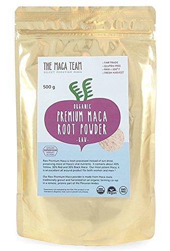 Maca Premium en polvo cruda BIO, 500 gr. Cosecha orgánica certificada de Perú, comercio Justo, sin OGM, sin Gluten y Vegana, 50 dosis.