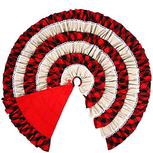 48-inch tartan kerstboom rok met franje rand ronde tapijt, vakantie decoraties onder de kerstboom