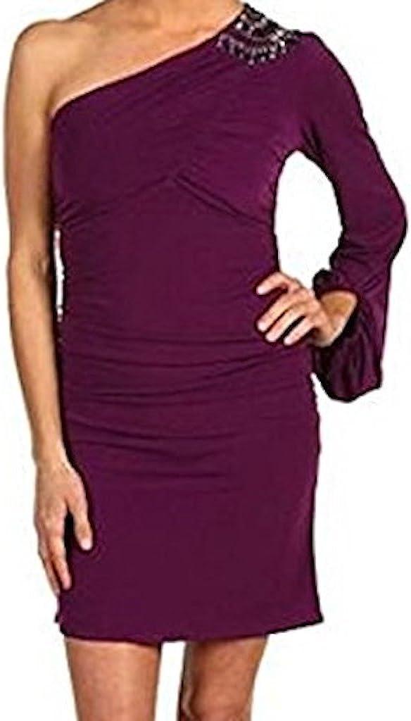 LAUNDRY BY SHELLI SEGAL Asymmetrical One Shoulder Bubble Embellishments Ambrosia 8 Purple