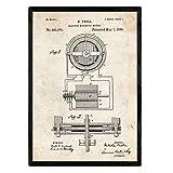 Nacnic Poster con Patente de Motor magnetico. Lámina con diseño de Patente Antigua en tamaño A3 y co...
