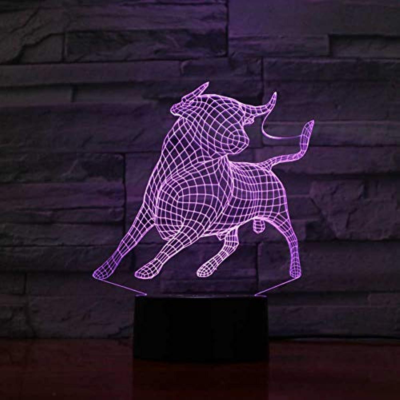 Laofan 7 Farben ndern 3D Schlafzimmer atmosphre Cattle led nachtlicht Tier ox tischlampe Baby Schlaf Beleuchtung Geschenk,Berührungsschalter