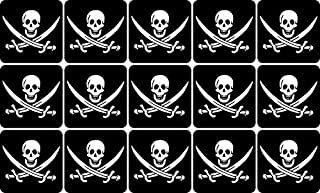 StickerTalk Crossed Swords Jolly Roger Flag Vinyl Stickers, 1 Sheet of 15 Stickers, 1 inch by 1 inch Each