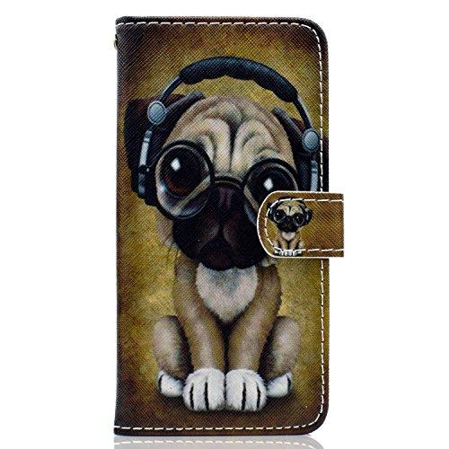 ISAKEN Huawei P Smart Hülle, PU Leder Flip Cover Brieftasche Geldbörse Wallet Hülle Ledertasche Handyhülle Tasche Schutzhülle Etui mit Standfunktion für Huawei P Smart - H& Musik