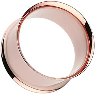 Double Flared WildKlass Flesh Tunnels Rose Gold IP Over 316L Surgical Steel (Sold as a Pair)