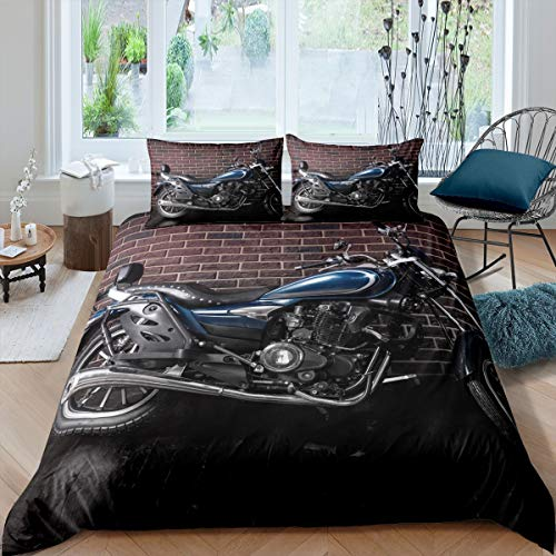 Loussiesd Motocross Bedruckte Betten Set Motorrad Muster Bettwäsche 135x200cm Extremsport Thema Bettbezug Set für Jungen Teenager Männer Schlafzimmer Dekor Retro Motorrad Mit 1 Kissenbezug