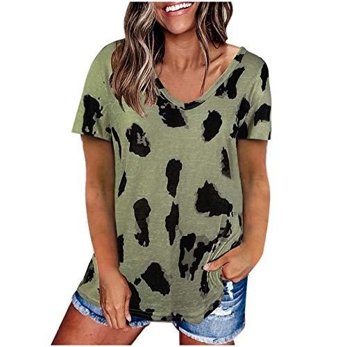 Blusa básica de Manga Corta raglán con Estampado de Leopardo de Verano para Mujer,Camisa Blusa túnica Camiseta,Mujer Verano Camisas MujerYANFANG,Army Verde,L