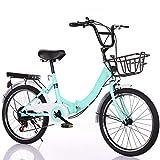 Comooc - Bicicleta de paseo de mujer para bicicleta de estudio de coche, ligera, para principiantes, ligera, para adultos y mujeres, bicicleta plegable de 24 pulgadas, Mujer Unisex adulto, verde