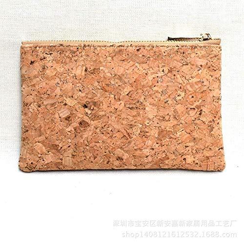 Ogquaton Moderno Fashion Classic Cork Coin Purse Multifuncional Ecológico Zipper con Cremallera Corcho Monedero