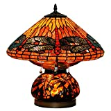 LIU 16 Pulgadas De Estilo Vintage Europeo Vidrieras De Colores Libélula Cálido Lámpara De Mesa Lámpara De Escritorio Luz De Noche