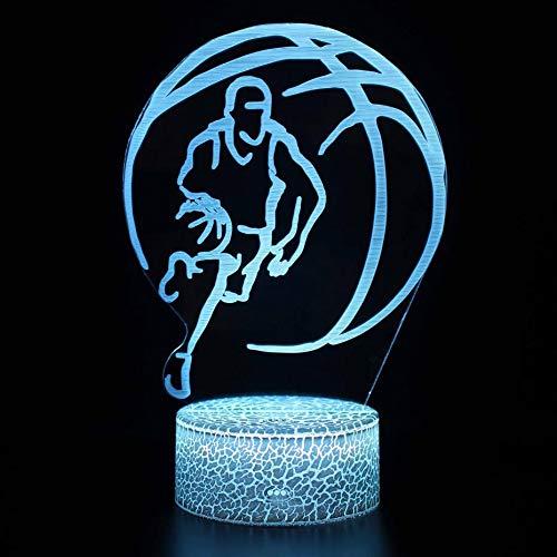 Dibujos animados creativos Bádminton Fútbol Fútbol NBA Baloncesto voleibol Jugador de juego de rugby Lámpara de mesa 3D Regalo de navidad Habitación para niños Decoración Luz de noche LED