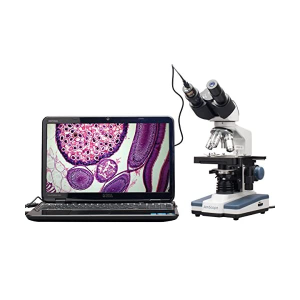 AmScope B120C-E1 40X-2500X LED Digital Binocular Compound Microscope w 3D Stage +1.3MP USB Camera