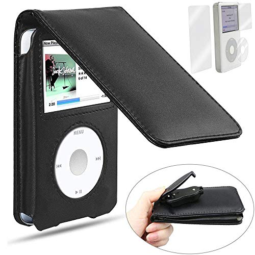BestforYou iPod Classic Case,Leather Flip Case Cover for Apple iPod Classic 80GB, 120GB & Latest 6th Generation 160gb launched Sept 09 with Belt Clip + Screen Protector