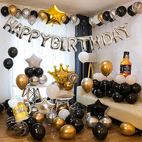 birthday party decorations supplies for 18 year olds adult men Black gold theme birthday party decorations supplies set of 75 pcs (Black silver)