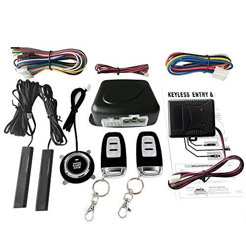 KKmoon Interruptor Kit de Sistema de Entrada Sin Llave para Coche SUV, Sistema de Alarma con Sensor de Vibración Botón Pulsador Arranque Remoto Detener