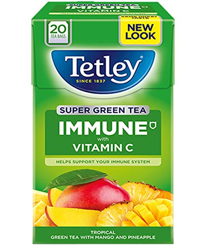 Tetley Green Tea IMMUNE - 3 x 20 tea bags Mango/Pinapple