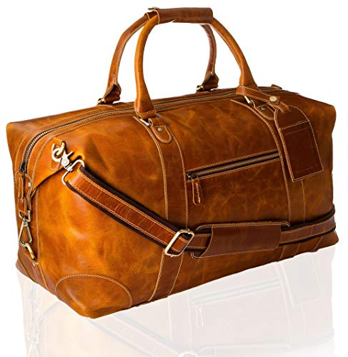 Viosi Genuine Leather Travel Duffel Bag | Oversized Weekend Luggage | Buffalo Leather Duffle Bag For Men / Women | Sports Gym Overnight Carry-On Bag | Great Gift Idea