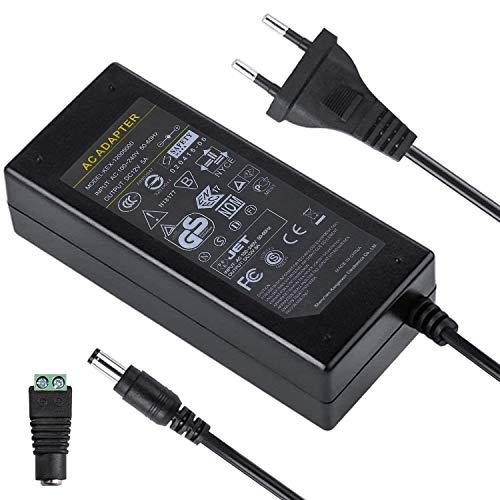 UltraBright AC/DC 12V 5A 60W EU Netzteil Stromversorgung Trafo Ladegerät mit 5,5mm x 2,1mm Hohlsteckeradapter Konverter Adapter für SMD LED Beleuchtung Stripe Streifen usw.