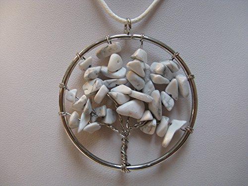 Natural mente – Arbre de Vie, arbre de vie, pendentif, collier, amulette, pendentif pierre précieuse, Rock, pierre, Quartz, Howlite, n ° 15