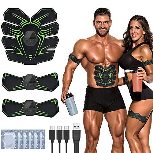 RIRGI Electroestimulador Muscular Abdominales,Electroestimulador Muscular USB Recargable, 6 Modos y 10 Niveles de Intensidad para Abdomen/Cintura/Pierna/Brazo (Incluyendo 12PCS Reemplazo Gel Pad)