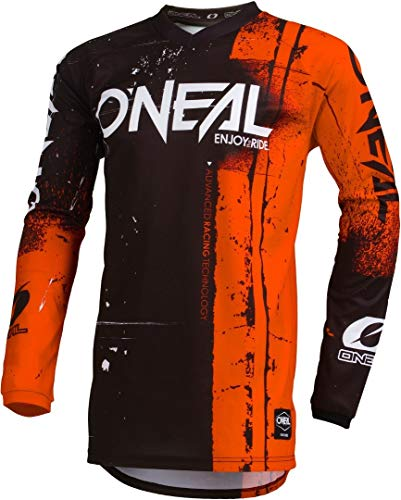 O'NEAL | Motocross-Jersey Langarm | Kinder | MX MTB Mountainbike Enduro | Eingenähter Ellbogenschutz, V-Ausschnitt, Atmungsaktives Material | Element Youth Jersey Shred | Orange | Größe XL
