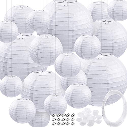 79 Pieces Round Chinese Paper Lantern Set, Decorative Assorted Sizes Lanterns with 20 Meter Clear Nylon Thread Crimping Loop Sleeve and Adhesive Ceiling Hook for Wedding, Party, Event (White)