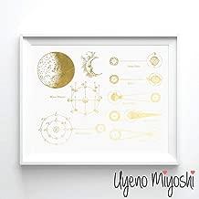 Moon Phase III Gold Foil Art Print Moon Calendar Gold Print Moon Phase Vintage Style Drawing Gold Wall Art Decor 08 x 10