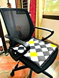 DesignMe Essentials Revolving Chair Seat Cover/Mat/Pad for Office Home for Sweat Free Seating| 100% Cotton | with Foam | Comfortable for Leather Chairs| Black Check Design | Washable | 17 * 17 Inches