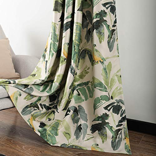 Leeva Linen Blackout Curtains for Dining Room, Thermal Insulated Trees Pattern Print Window Treatment Darkening Curtains for Living Room, Set of 2 Panels, Green, 52x63