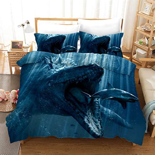 3D Ocean Animal Dolphin Whale Shark Penguin Printing Bedding set Microfiber Blue Purple Soft Breathable Duvet Cover and Pillowcase Boy Girl (Style 3,Double 200x200 cm)