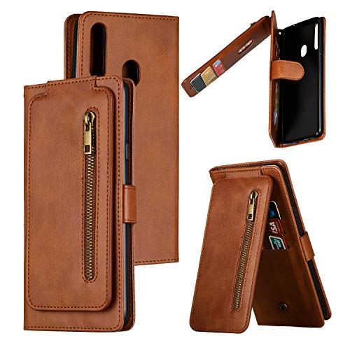 Nadoli Zipper Case for Samsung Galaxy A40,Unique Luxury 9 Card Slots Design Premium Pu Leather Magnetic Wrist Strap Wallet Flip Case Cover with Kickstand
