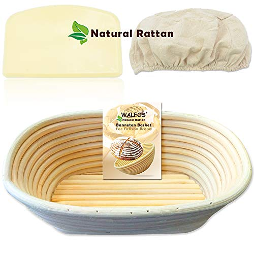 WALFOS 10 Inch Oval Banneton Bread Proofing Basket Set  French Style Artisan Sourdough Bread Bakery BasketDough Scraper/Cutter amp Brotform Cloth Liner Included  100% NATURAL RATTAN