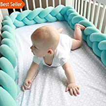 100CM 200CM Newborn Baby Bed Bumper Infant Room Decor Crib Protector Pacification Toy Pure Color Weaving Knot for Kids Bedding (Pink, 1M)