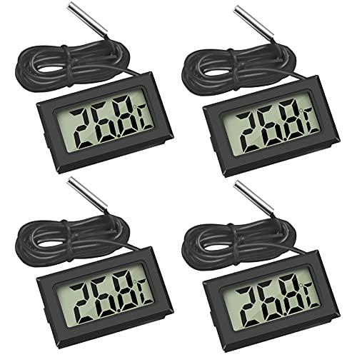 Thlevel Mini Digital LCD Thermomètre Température -50~70 ℃ de Température Capteur Testeur pour Réfrigérateur Congélateurs Aquarium (4X Noir)