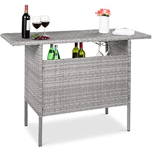 Best Choice Products Outdoor Patio Wicker Bar Counter Table Backyard Furniture w/ 2 Steel Shelves and 2 Sets of Rails - Gray
