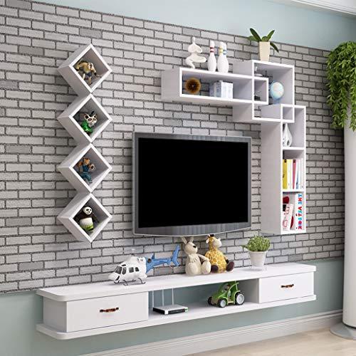 Mobile TV Porta con mensola da Muro Un Design Moderno Bianco HOMIDEA Aspen Set Soggiorno Parete Attrezzata