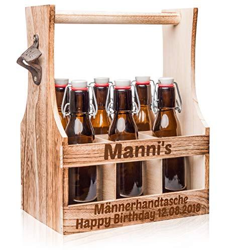 Männerhandtasche Bierträger mit Gravur - Sixpack als Geburtstagsgeschenk Männergeschenke stabiler Flaschenträger aus Holz für 6 Flaschen