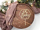 LS Designs Baby Shower Cake Topper Gold Oh Baby Hexagon 5 1/4 inches x 7 1/2 inches Full Gold Acrylic Baby Shower Girl Baby Shower Boy Cake Topper Gender Reveal Cake Topper