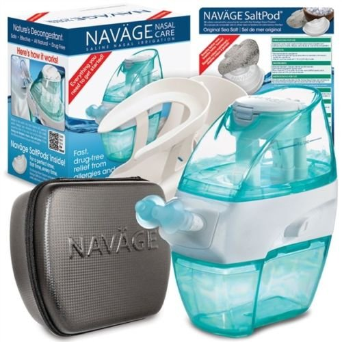 Navage Nasal Care The Works Bundle: Naväge Nose Cleaner, 38 SaltPod Capsules, Countertop Caddy, and Travel Case. 139.85 if Purchased Separately. You Save 29.90 (Black)