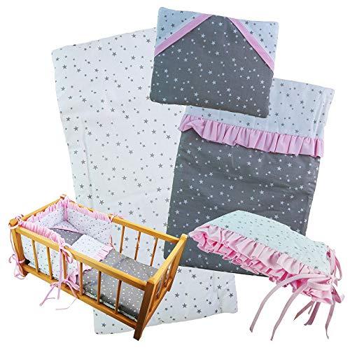 Juego de cama para muñecas de 4 piezas, manta + almohada + cuna + colchón para muñecas de hasta 43 cm (sin cuna de muñeca)