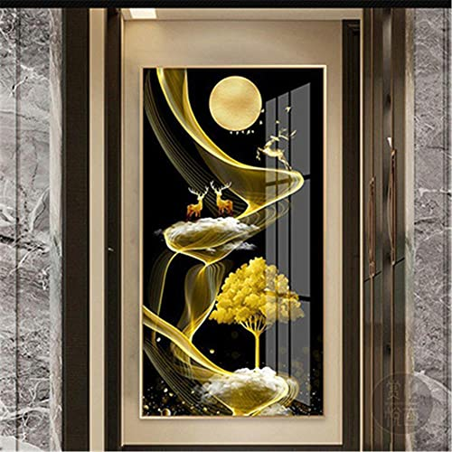 DIY 5D Pintura Diamante Grande kits,Árbol de ciervo dorado Completo Cristal Rhinestone Diamond Painting,Large Full Drill Adulto Niño Bordado Punto de Cruz Lienzo Home Decor de Pared Regalo 30x90cm