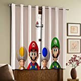Cortinas opacas Super Mario Bros con ojales para dormitorio