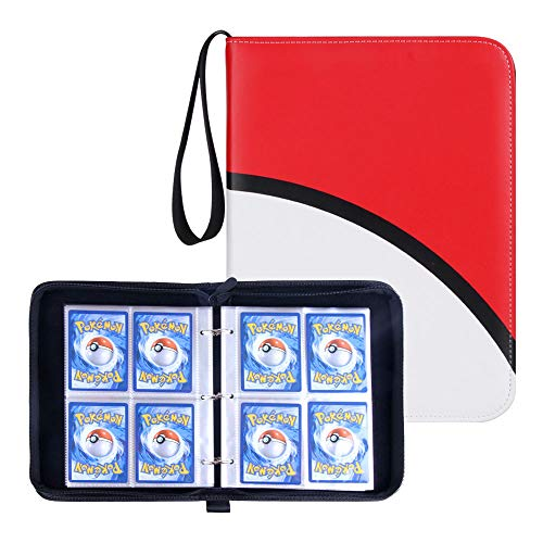 Carrying Case Binder Fit for Pokemon Cards, Trading Card Binder Holds Up to 440 Standard Size Cards, Famard Card Sleeves with 55 Premium 4-Pocket Pages