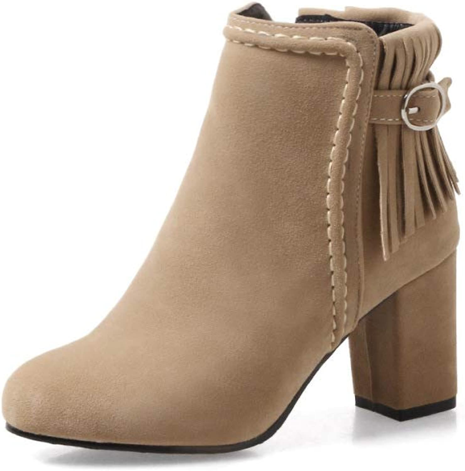 Women Fashion Simple Ankle Boots 2018 Winter New Tassel High Heel Boots Size 30-48,Camel,39