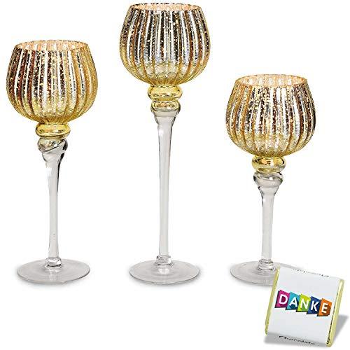 3 teiliges Glaskelch Windlicht Set, Kelche Gold geriffelte Struktur auf Standfuß Kerzenhalter Kerzenständer Kerzenleuchter Höhe: 40, 35 & 30cm