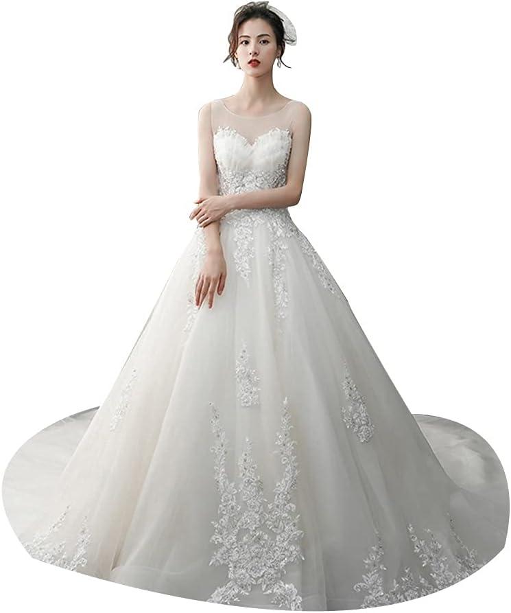 Tulle Back Wedding Dresses Tube Top Petal Design Women's Trailing Skirt Bride Dress for Bride Party Ball (Color : White, Size : Medium)