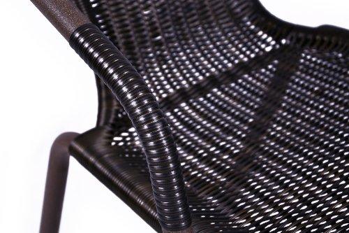 Nexos Bistroset Balkonset Rattanset – Sitzgarnitur aus Glastisch & Bistrostuhl – Stahlgestell Poly-Rattan Glasplatte – robust stapelbar – dunkel-braun - 4