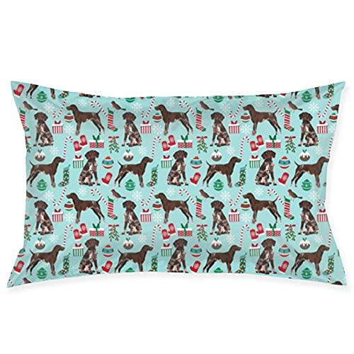 Funda de cojín de tela de Navidad para perro de pelo corto alemán, diseño navideño, funda de almohada de 50,8 x 76,2 cm, para sofá, coche, funda de cojín cuadrada