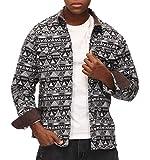 Mens Western Aztec Print Shirt Long Sleeve Button Up Vintage Jacket Dark Grey S
