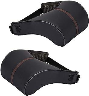 Flameer 2Pcs Car Neck Pillow High-Elastic Comfortable Retractable Back Support Black
