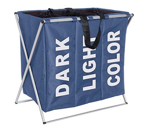 WENKO 3440023100 Wäschesammler Trio-/Wäschekorb Fassungsvermögen: 130 l, 63 x 57 x 38 cm, blau